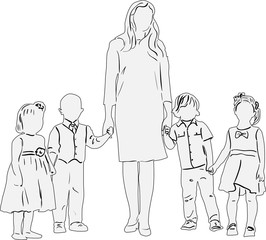 four children and woman light sketch on white