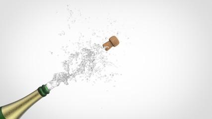 Celebration theme with splashing champagne, isolated. 3d illustration