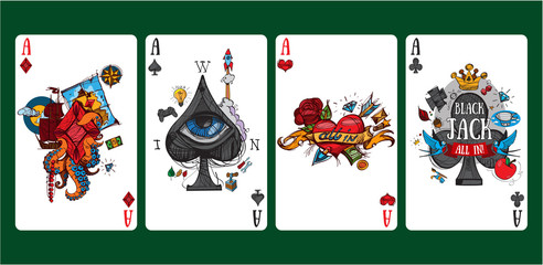 Colorful images of playing cards four aces.