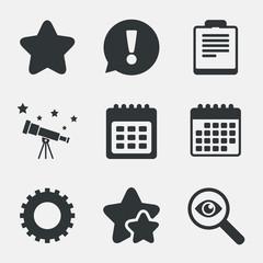 Calendar and star signs. Checklist, gear.
