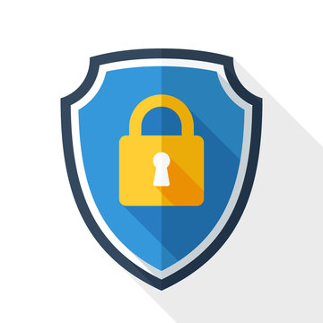 Vector Protective shield icon with the image of a padlock. Security concept simple icon in flat style with long shadow on white background