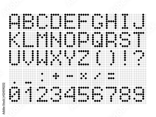 Digital dotted font with letters, numbers, mathematical symbols and