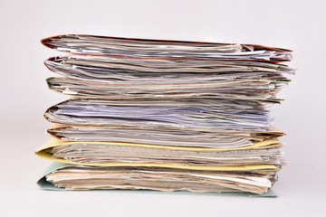 paperwork Stacked files on isolated background