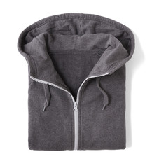 A grey, full zip hooded jumper, folded and isolated on a white background
