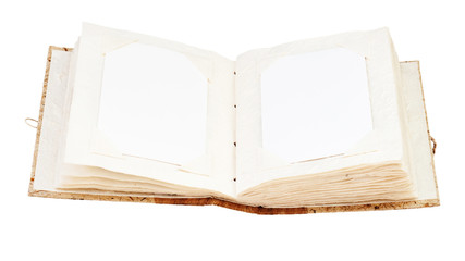 open old photo album with place for your photos isolated on white background
