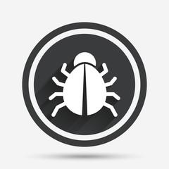 Bug sign icon. Virus symbol. Software bug error.