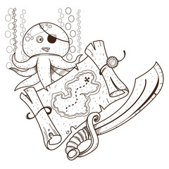 Octopus, treasure map, pirate sword. Graphics Pirate theme.