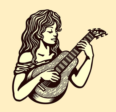 Cute naive girl playing acoustic guitar vector black and white monochrome simple illustration engraving style