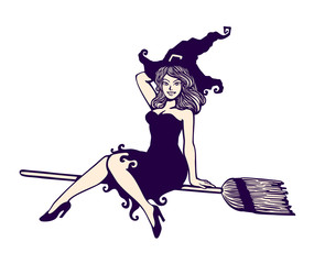 Sexy cute pin-up girl in witch halloween costume riding magic flying broom stick black and white vector cartoon illustration