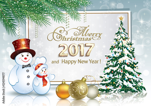 merry christmas and happy new year 2017 with christmas tree and snowman