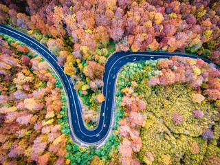 Aerial drone view of a curved winding road through the forest high mountain pass.