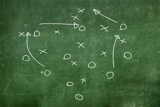 Soccer game strategy drawn