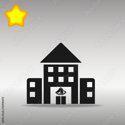 quotblack school building icon button logo symbol concept