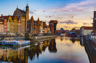 Photo on textile frame City on the water Cityscape of Gdansk in Poland