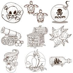 Set pirate things. Pirate black mark, sea turtle, dice, bomb, cannon, mermaid, parrot, treasure chest.