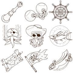 Set pirate things. Spyglass, octopus, irons, steering wheel, treasure map, jolly roger flag, shark, sword.