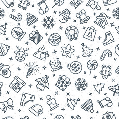 Christmas pattern consisting of christmas line icons such as santa, deer, christmas ball, fir- tree, gift, snowflake on winter holiday background. Merry Christmas Happy New Year. Vector Illustration