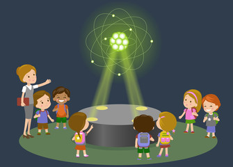 Innovation education elementary school learning technology and people concept - group of  kids looking to carbon atom hologram on physics lesson  future