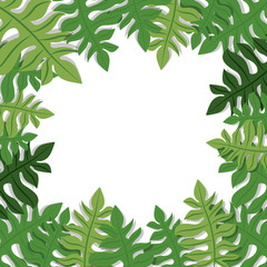 green tropical exotic natural leaves over white background. vector illustration