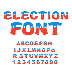 Election font. Political debate in America alphabet. USA Nationa