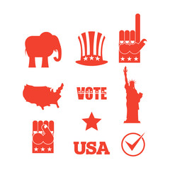 Republican elephant elections icon set. Symbols of political par
