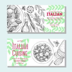Italian food vintage design template. Horizontal banners set. Vector illustration