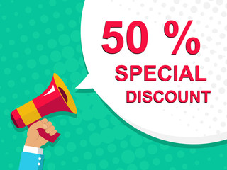 Megaphone with 50 PERCENT SPECIAL DISCOUNT announcement. Flat style illustration
