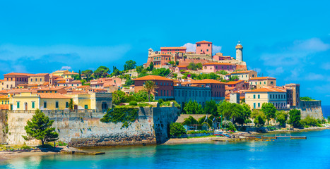 Wall Mural - Panoramic view over Portoferraio town of  isola d'Elba, Elba island in Tuscany region, Italy.