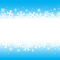 Bright blue background with snowflakes