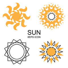 Set of vector sun icons