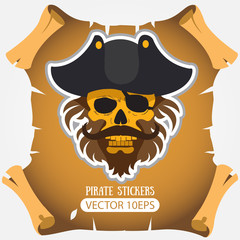 Pirate skull in a cocked hat. Vector stickers on the pirate theme.