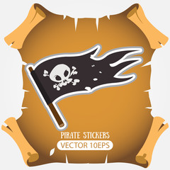Black Jolly Roger pirate flag. Vector stickers on the pirate theme.