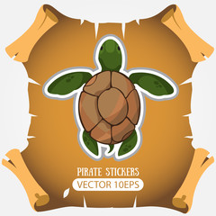 Sea turtles. Vector stickers. Animal protection.