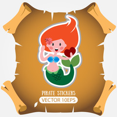 Mermaid. Vector stickers on the marine theme.