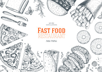 Fast food top view frame. Fast food banner, snack collection. Vintage vector illustration. Drawn in ink.