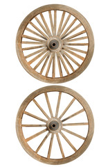 Double wooden cartwheesl with clipping path