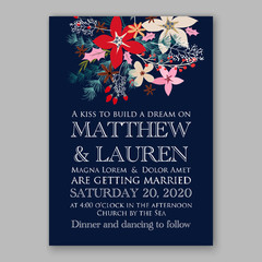 Wedding invitation template poinsettia christmas wreath