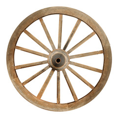Single wooden cartwheel with clipping path
