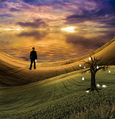 Idea tree with top hatted man holding single bulb in serene surreal landscape