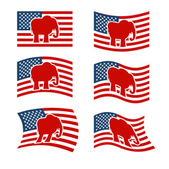 Elephant Flag. Republican National flag of presidential election