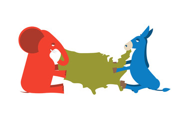 Elephant and Donkey divided map of America. USA political party.