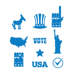 Democrat donkey election icon set. Symbols of political parties