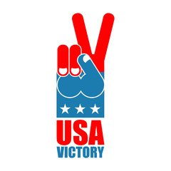 Finger victory USA. America win hand. Symbol of USA Patriot. Ame