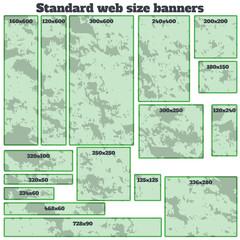 empty box standard size web banners blank set.