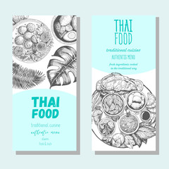 Asian food flyer set. Asian food vertical banner collection. Thai food menu restaurant. Thai food sketch menu. Linear graphic