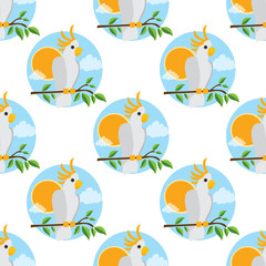 Seamless pattern for design surface Parrot Cockatoo white large.