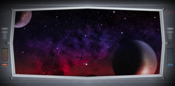 Alien world as seen from a spaceship window