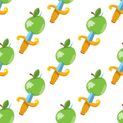 Seamless pattern for design surface Apple with a dagger.