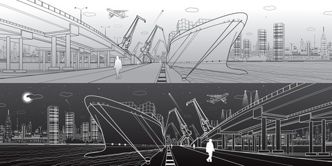 Transportation and industrial panorama. Cargo ship loading, boats on the water, sea harbor. Transport overpass, highway, urban scene, airplane fly. Light and dark lines. Vector design art