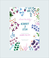 Save The Date invitation with watercolor flowers - illustration.